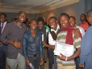 2nd Prize winner Michael (second from right) with friends