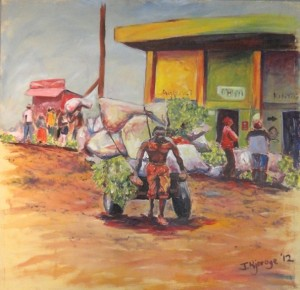 4th Prize winner, Kazi ni Kazi, 92x92cm, James Njoroge